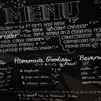 Northeast Slopes menu board