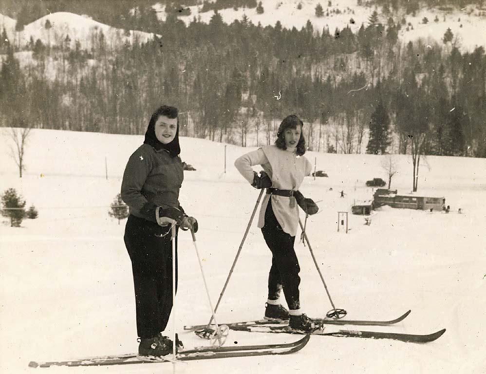 Northeast Slopes Vermont vintage photo-ladies on skis